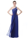 Royal Blue Chiffon One Shoulder Bridesmaid Dresses With Cut Out Back