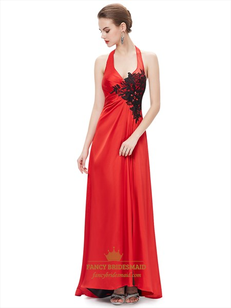Red Halter Neck Side Slits Prom Dress With Black Lace Applique Detail