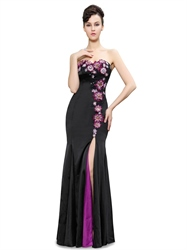 Black Mermaid Strapless Sweetheart Prom Dress With Floral Applique