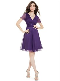 Purple Chiffon V-Neck Knee Length Bridesmaid Dress With Beaded Waistband