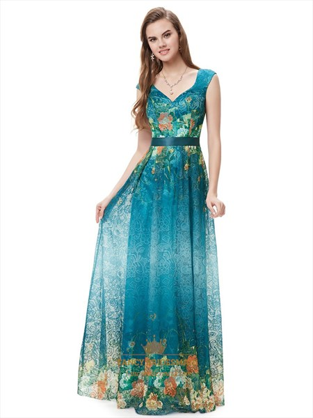 Elegant Teal Blue V-Neck Floral Print Prom Dresses With Cap Sleeves