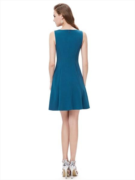 Elegant Teal Blue Short Cocktail Party Dress With Illusion Neckline