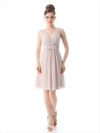 Vintage Pastel Pink Chiffon V-Neck Bridesmaid Dress With Lace Detail