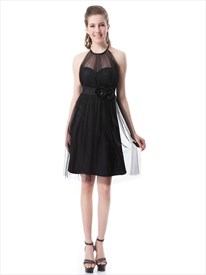 Black Knee Length Jewel Neckline Bridesmaid Dresses With Flower Sash