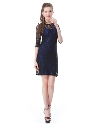 Blue And Black Lace Sheath Mother Of The Bride Dresses With Half Sleeve