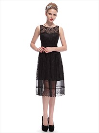 Vintage Black Lace Tea Length Illusion Neckline Bridesmaid Dresses