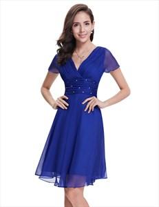 Royal Blue Chiffon V-Neck Knee Length Bridesmaid Dress With Beading