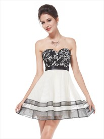 Black And Ivory Sweetheart Mini Homecoming Dresses With Lace Bodice