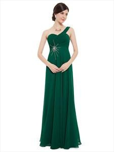 Emerald Green One Shoulder Chiffon Bridesmaid Dresses With Beaded Detail