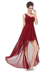 Burgundy One Shoulder High Low Bridesmaid Dresses With Beaded Detail