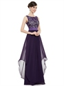 Purple Chiffon Lace Bodice Chiffon Skirt Floor Length Bridesmaid Dresses