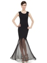 Elegant Black Mermaid Sleeveless Prom Dress With Sheer Skirt