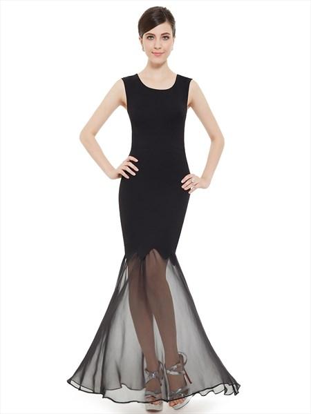 Elegant Black Mermaid Sleeveless Prom Dress With Sheer Skirt