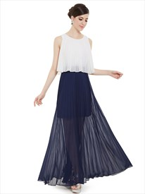 White And Navy Blue Crinkle Chiffon Bridesmaid Dress With Sheer Skirt