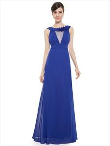 Royal Blue Chiffon Jewelled Neckline Bridesmaid Dress With Flower Detail