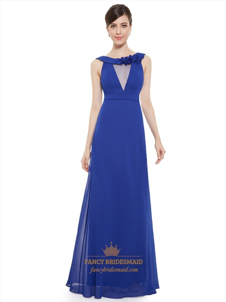 Royal Blue Chiffon Jewelled Neckline Bridesmaid Dress With Flower Detail