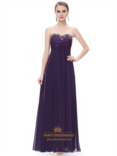 Purple Chiffon Sweetheart Empire Bridesmaid Dresses With Beaded Neckline