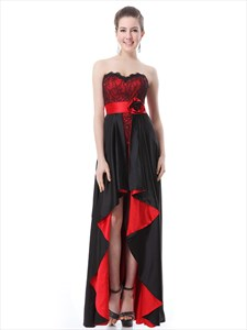 Black And Red Sweetheart Lace Bodice Prom Dresses With Split Front