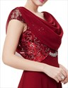Burgundy Chiffon Cowl Back Lace Bodice Prom Dresses With Cap Sleeves