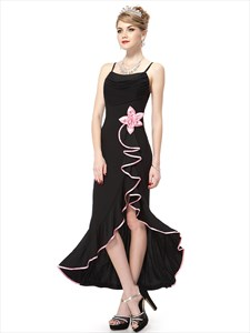 Black Spaghetti Strap Chiffon Mermaid Bridesmaid Dress With Ruffles