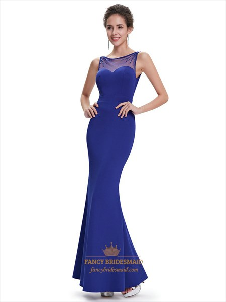 Royal Blue Illusion Neckline Mermaid Prom Dress With Beaded Straps