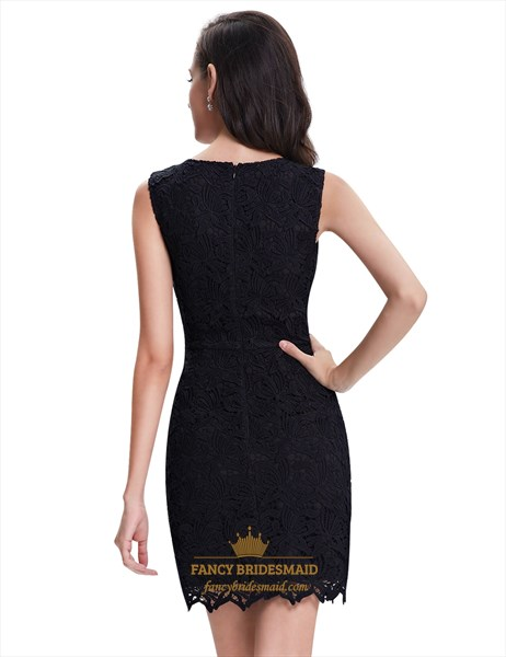 Elegant Black Lace Column Sleeveless Mini Cocktail Party Dress