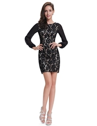 Black Lace Sheath Short Mother Of The Bride Dresses With Long Sleeves