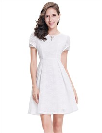 Elegant White Short Semi Formal Dresses With Short Sleeves
