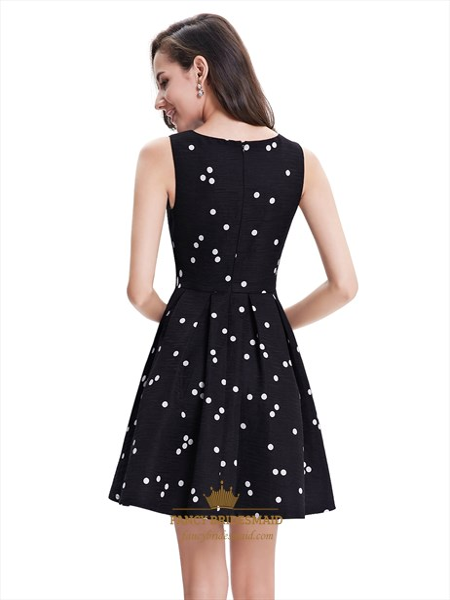 Black And White Polka Dot Sleeveless Short Dress For Cocktail Party