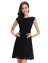 Elegant Black Lace Short Semi Formal Dresses With Cap Sleeves