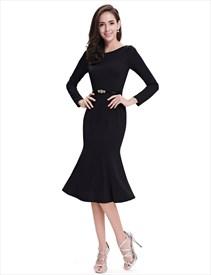 Black Mermaid Long Sleeves Tea Length Prom Dresses With Belts