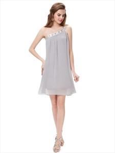 Grey One Shoulder Short Chiffon Bridesmaid Dresses With Beaded Neckline