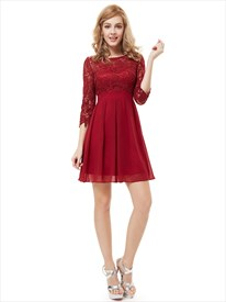 Burgundy Chiffon Short A Line Bridesmaid Dresses With Half Sleeves