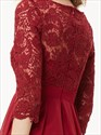 Burgundy Chiffon Short A Line Bridesmaid Dresses With Half Sleeves