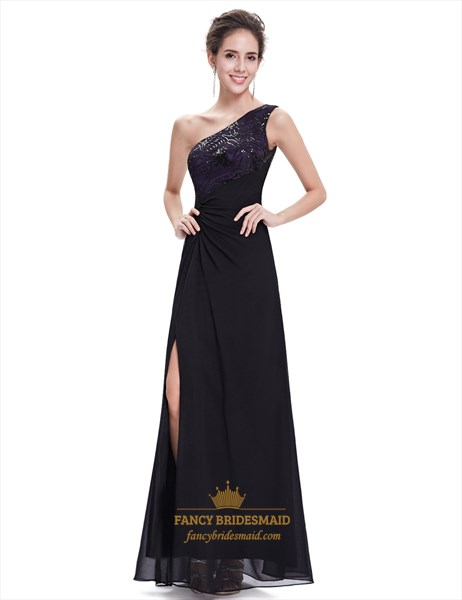 Black Chiffon One Shoulder Side Slits Prom Dress With Sequin Trim