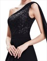 Black Chiffon Embellished One Shoulder Prom Dress With Watteau Train