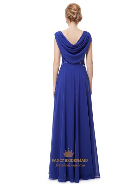 Royal Blue Cowl Neckline Lace Bodice Prom Dresses With Beaded Detail