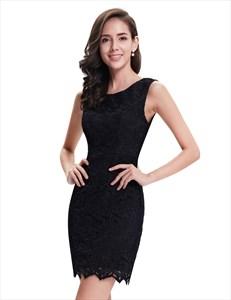 Elegant Black Lace Column Sleeveless Mini Cocktail Party Dress