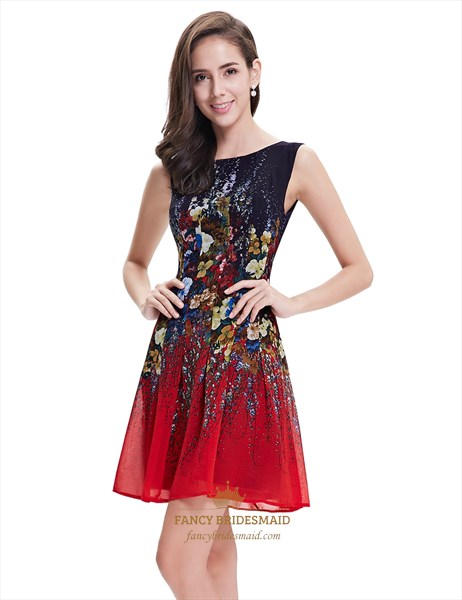 Red And Black Sleeveless Floral Print Short Chiffon Cocktail Dress