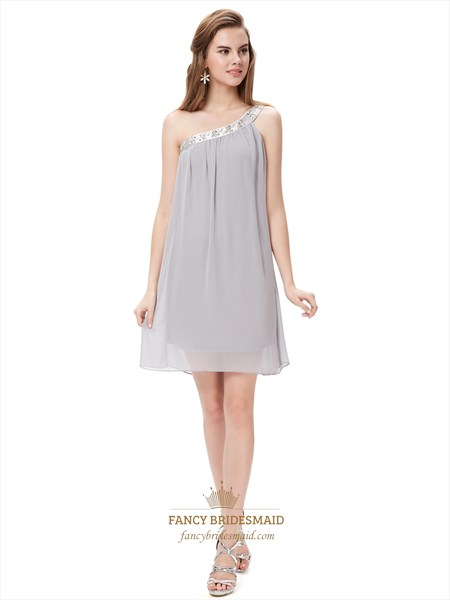 Grey One Shoulder Short Chiffon Bridesmaid Dresses With Beaded Neckline