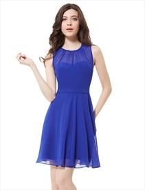 Elegant Royal Blue Illusion Neckline Chiffon Short Bridesmaid Dresses