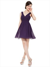 Elegant Purple Chiffon V Neck Short A Line Bridesmaid Dresses
