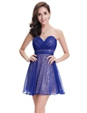 Royal Blue Sweetheart Short Sequin Cocktail Dress With Chiffon Overlay