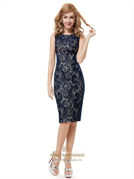 Navy Blue Lace Knee Length Sheath Dresses For Mother Of The Bride