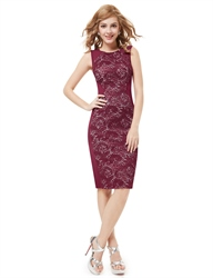 Elegant Burgundy Knee Length Sheath Cocktail Dress With Lace Back Detail
