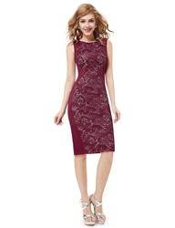 Elegant Burgundy Knee Length Sheath Cocktail Dress With Lace Back Detail