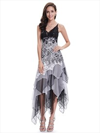 Black And White Lace Spaghetti Strap Prom Dress With Ruffled Skirt
