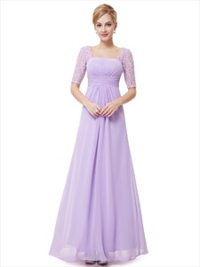 Lilac Chiffon Floor Length Bridesmaid Dress With Lace Half Sleeves