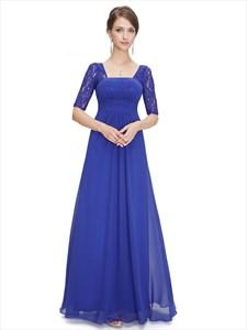 Royal Blue Chiffon Party Wedding Bridesmaid Dress With Lace Sleeves