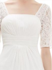 Ivory Lace Half Sleeve Chiffon Bridesmaid Dress For Beach Wedding